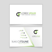 Simple Business Card with initial letter CF rounded edges with green accents as decoration.