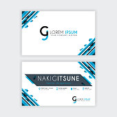 Simple Business Card with initial letter CJ rounded edges with a blue and gray corner decoration.
