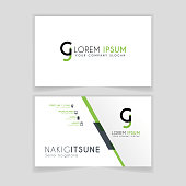 Simple Business Card with initial letter CJ rounded edges with green accents as decoration.