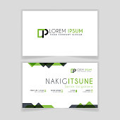 Simple Business Card with initial letter DP rounded edges with green accents as decoration.