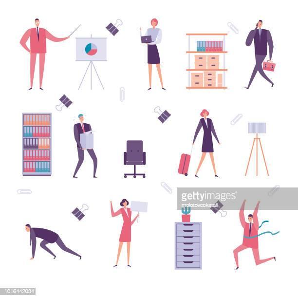 illustrations, cliparts, dessins animés et icônes de jeu d'icônes des affaires simples - femme d'affaires