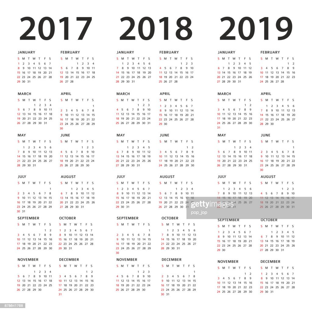 simple calendar template 2017 2018 and 2019 years vector art