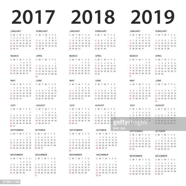 simple calendar template - 2017, 2018 and 2019 years - 2017 stock illustrations