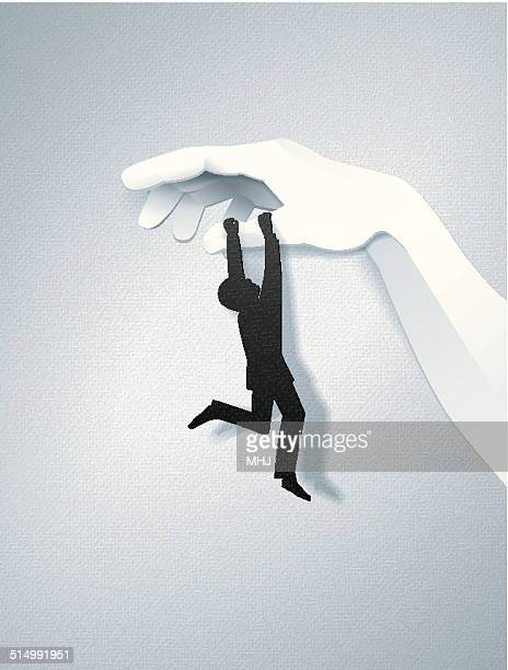 Simple Card Business Man Hanging from a Giant Paper Hand