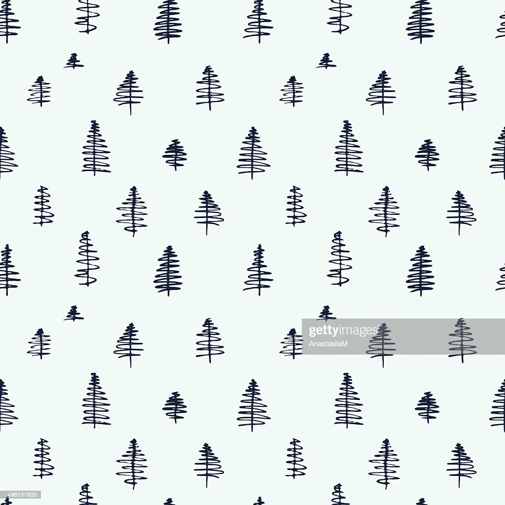 Simple cartoon seamless patterns with cute trees