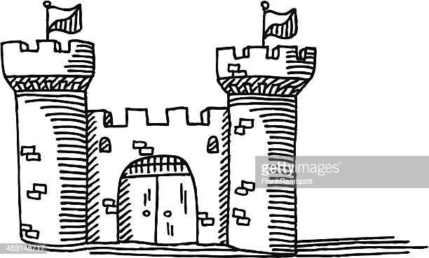 ilustrações, clipart, desenhos animados e ícones de simples castelo de desenho - castle