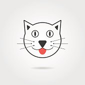 simple cat icon with shadow
