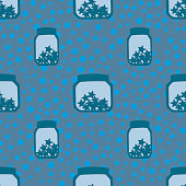 simple children seamless pattern with cycles and banks with stars on a blue background