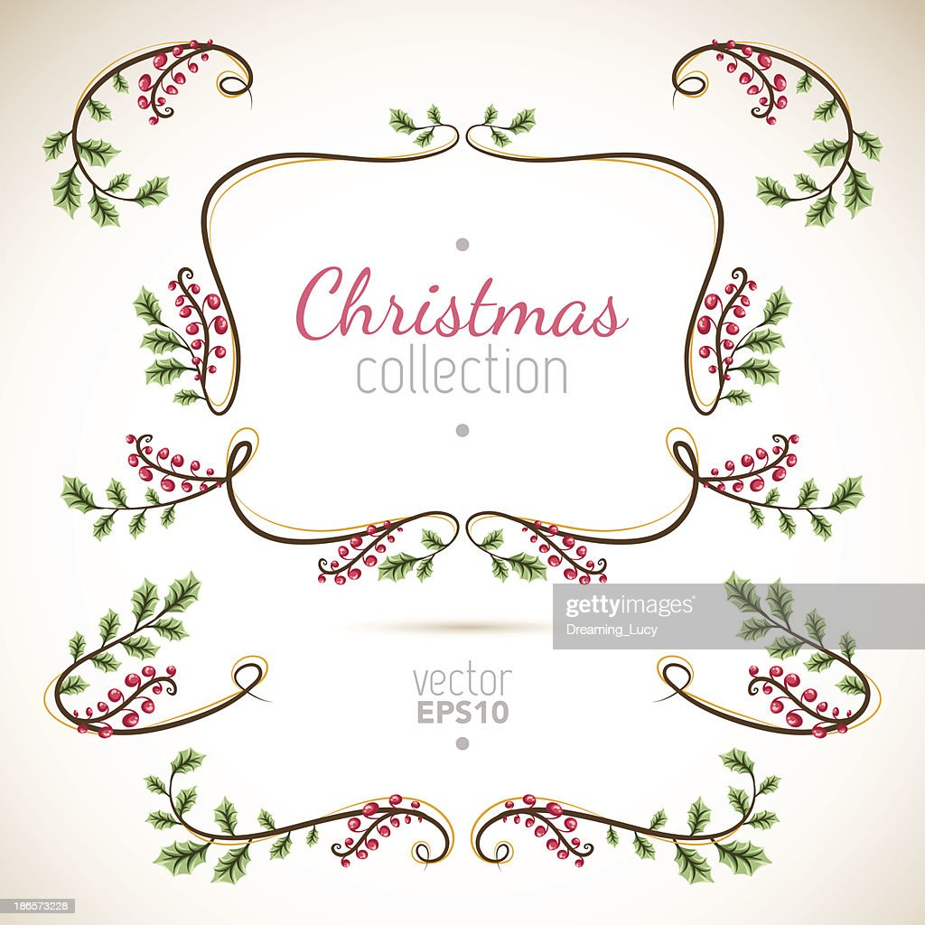 Simple Christmas collection of natural elements