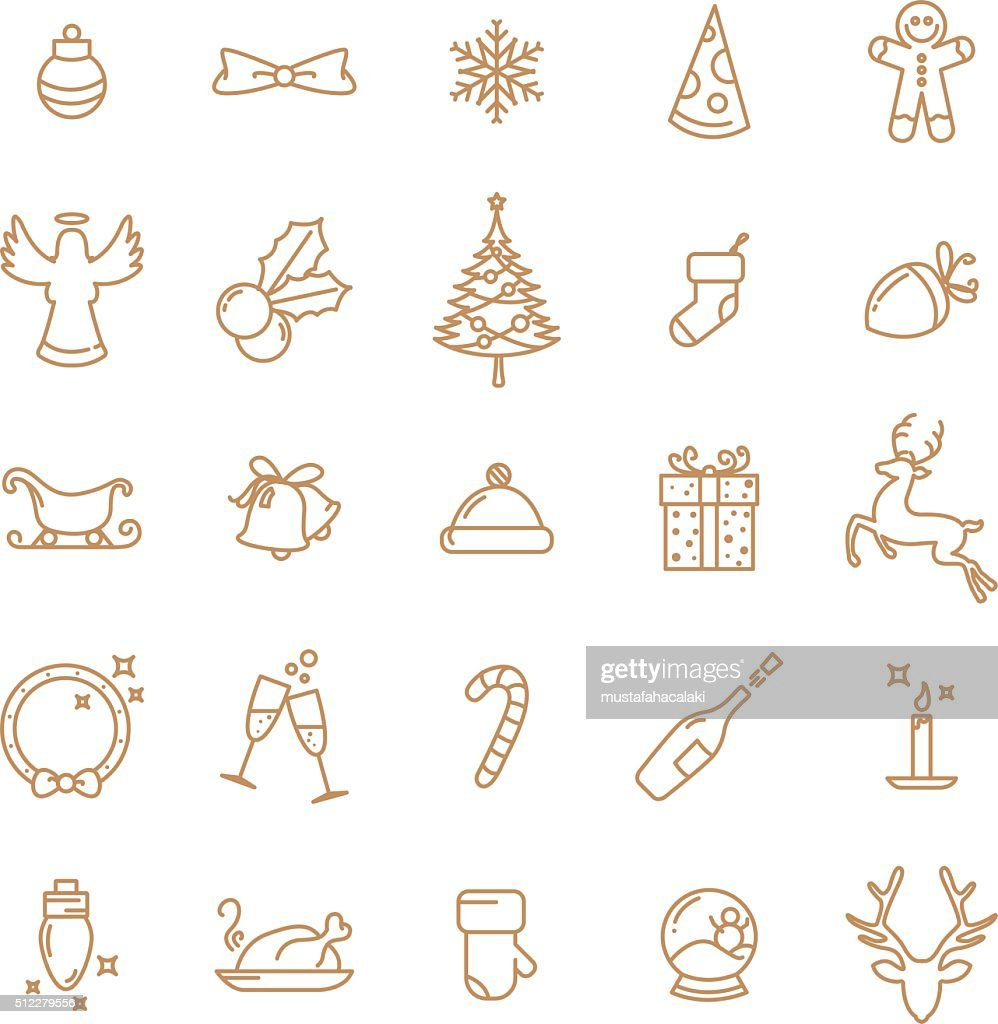 Simple Christmas lineart icons set