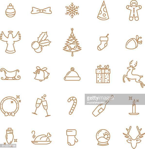 illustrations, cliparts, dessins animés et icônes de simple lineart ensemble d'icônes de noël - houx