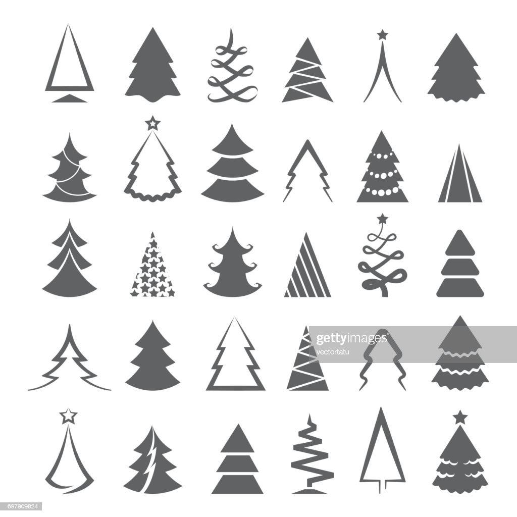 Simple christmas tree icons