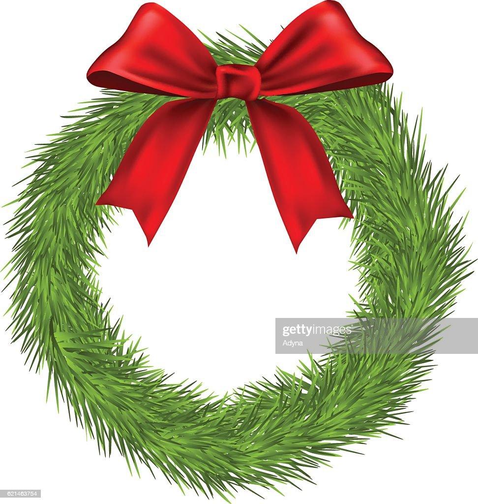 simple christmas wreath vector art - Simple Christmas Wreaths