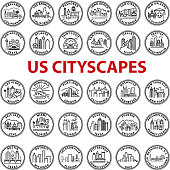 Simple Chunky US Cityscape Graphics