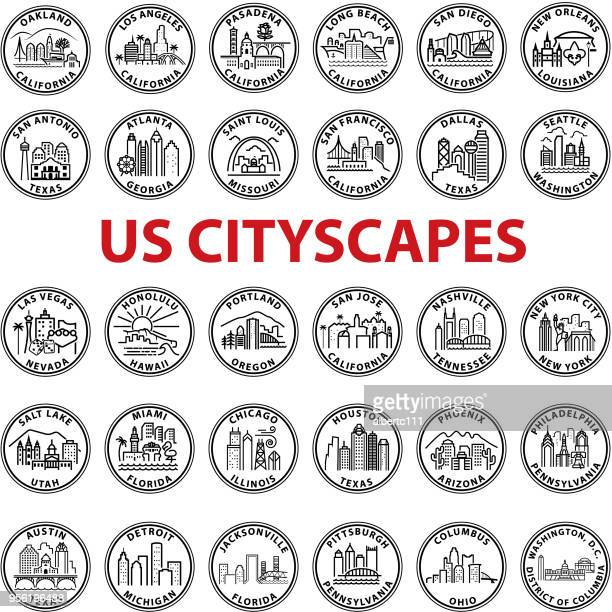simple chunky us cityscape graphics - chicago illinois stock illustrations