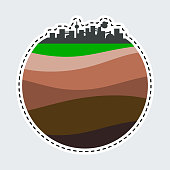 Simple city silhouette in patch style. Clip Art for sticker or pin. Layers of the earth.