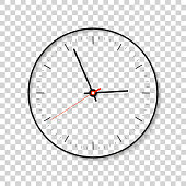 Simple Clock, minimalistic timer on transparent background. Business watch. Vector design element for you project