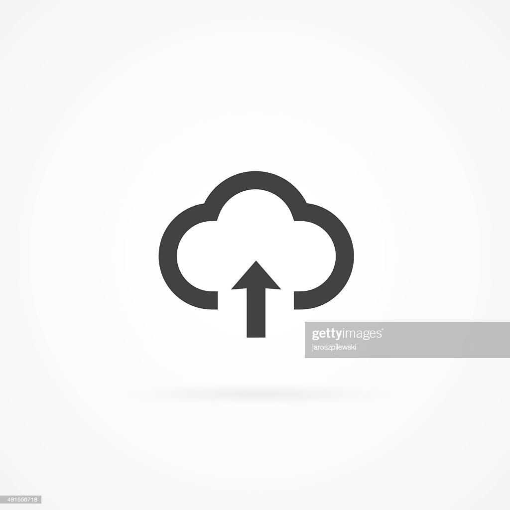 Simple cloud computing icon. Cloud and arrow.