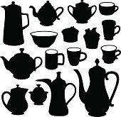 Simple coffee tea crockery silhouette set