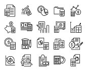 Simple collection of accounting related line icons.
