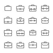 Simple collection of briefcase related line icons.