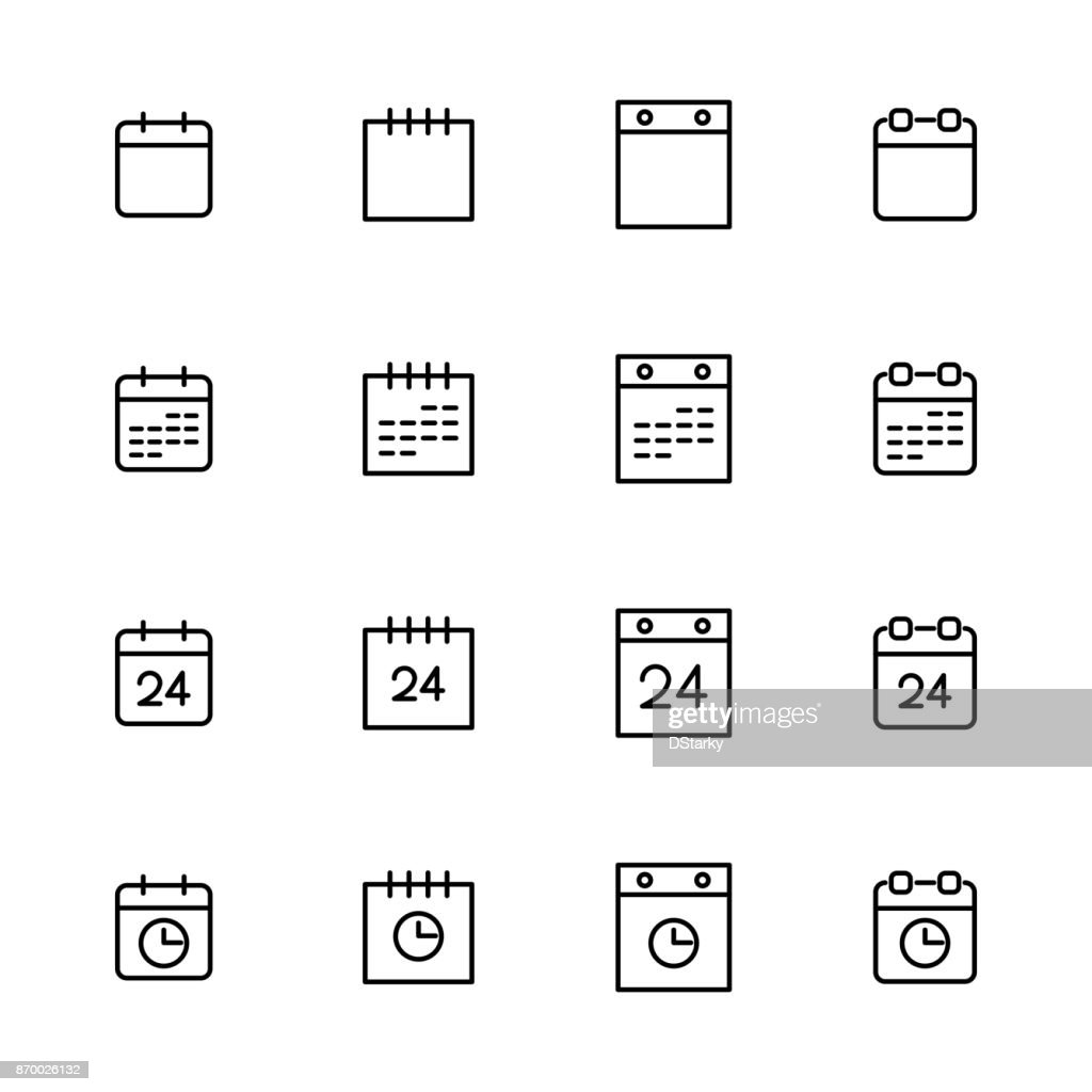 Simple collection of calendar related line icons.