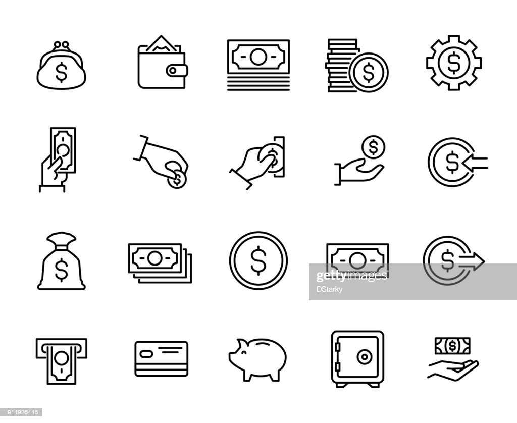 Simple collection of cash related line icons.