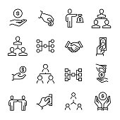 Simple collection of crowdfunding related line icons.