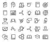Simple collection of e-learning related line icons.