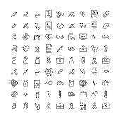 Simple collection of health related line icons.