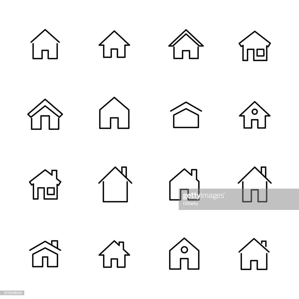 Simple collection of home related line icons.