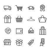 Simple collection of online supermarket related line icons.