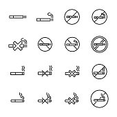 Simple collection of smoking related line icons