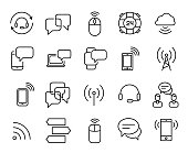 Simple collection of wireless communication related line icons.