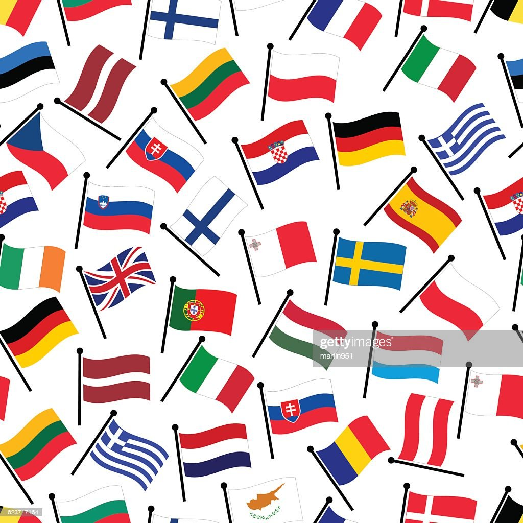 Simple Color Curved Flags All European Union Countries Seamless
