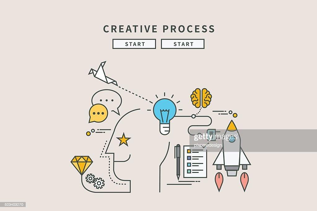 simple color line flat design of creative process