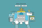 simple color line flat design of web design