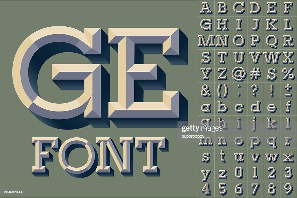 Simple colored version of old school beveled alphabet