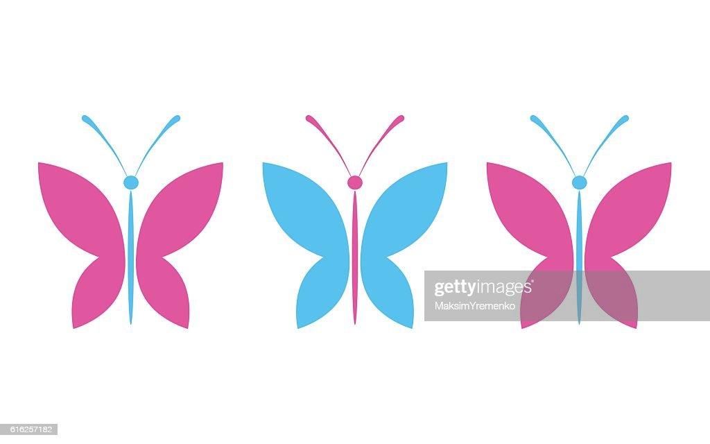 Simple colorful butterflies : Arte vectorial