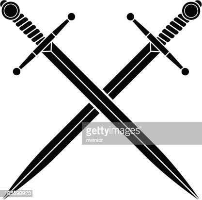 simple crossed swords vector art | getty images