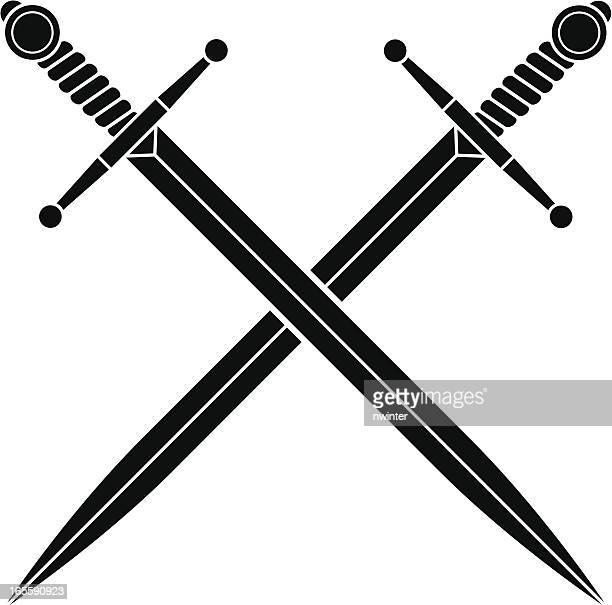simple crossed swords - sword stock illustrations