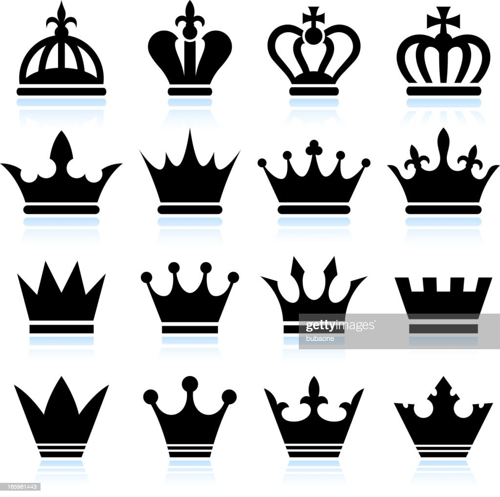 Simple Crowns black and white royalty free vector icon set