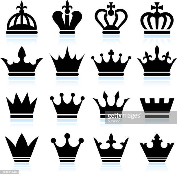 simple crowns black and white royalty free vector icon set - queen royal person stock illustrations, clip art, cartoons, & icons