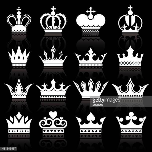 simple crowns knockout black and white royalty-free vector icon set - peerage title stock illustrations