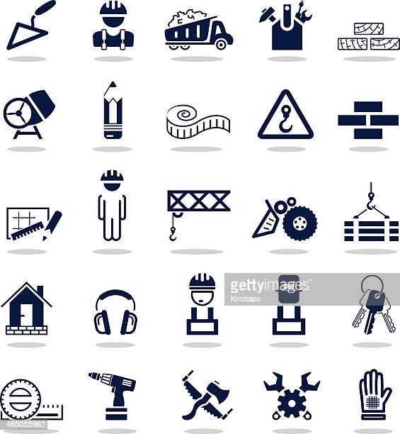 simple dark blue icons – construction - metal industry stock illustrations