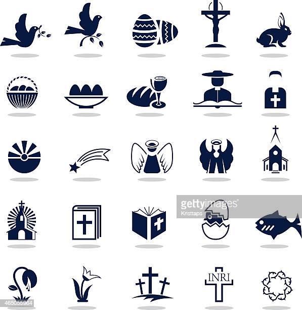 illustrazioni stock, clip art, cartoni animati e icone di tendenza di semplici icone di pasqua blu scuro — - colomba pasqua