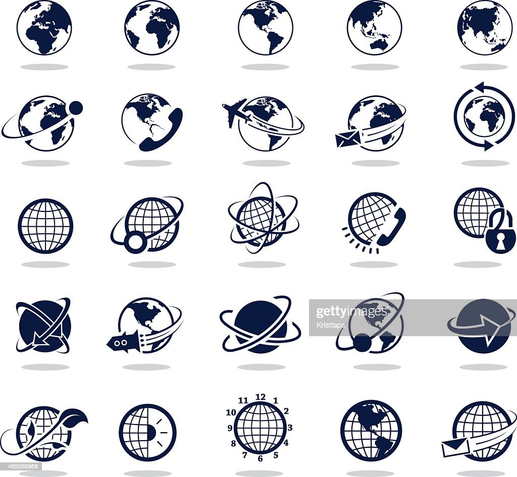 Simple dark blue icons – Globes : stock illustration