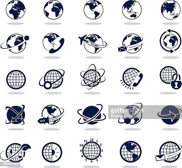 Schlichte Dunkle blue-icons: Globes