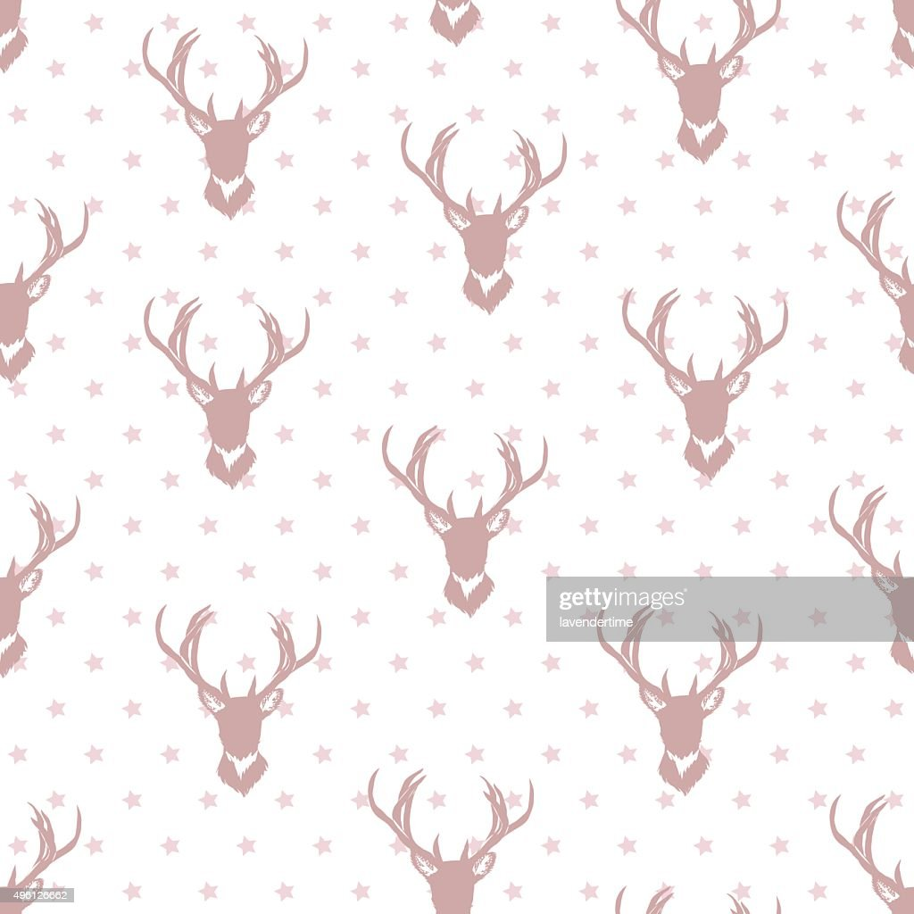 Simple deer silhouettes and stars seamless vector background.