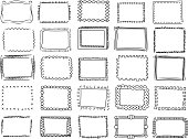 Simple doodle, sketch square vector frames. hand drawn borders